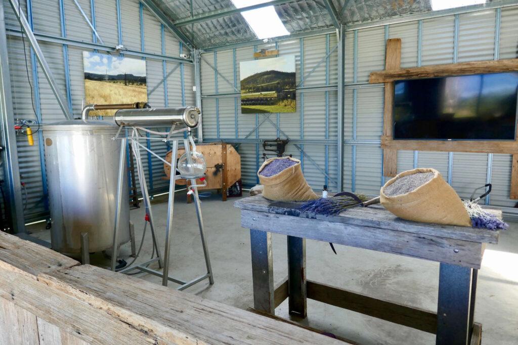 Destille und Lavendelblüten im Werkschuppen Naturduft für den Alltag